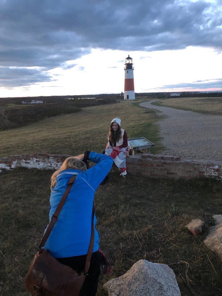 Rebecca Love photographing Caitlin Houston in Nantucket