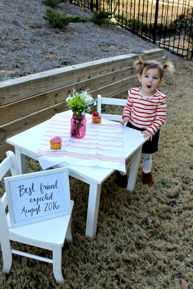 Big Sister Pregnancy Announcement - Best Friend Expected at Little Kid Table with Cupcakes