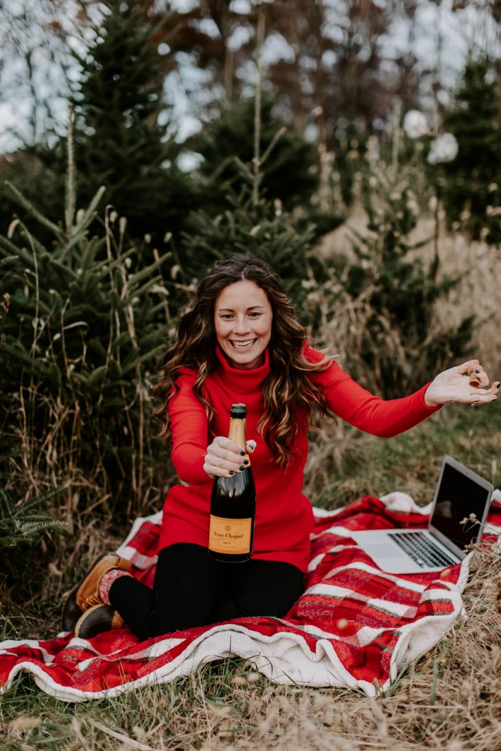 Dudley Stephens Park Slope Red Woman Popping Champagne Open