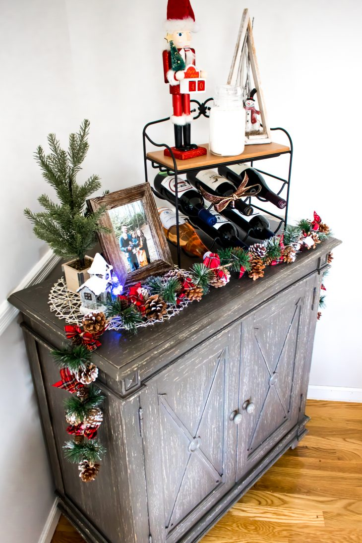 Gray Rustic Cabinet Dining Room Christmas Decorations