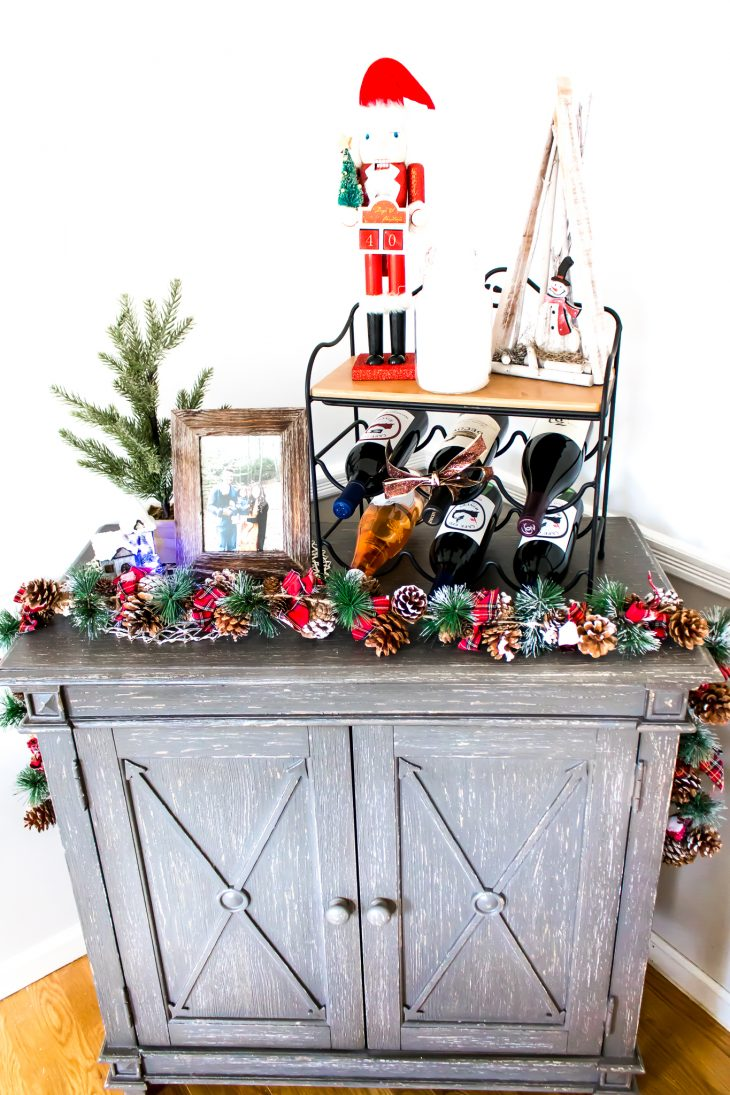 Dining Room Hutch Decorated for Christmas