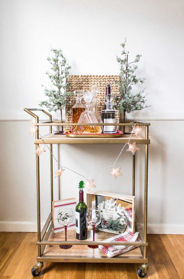 Gold Bar Cart Decorated for Christmas