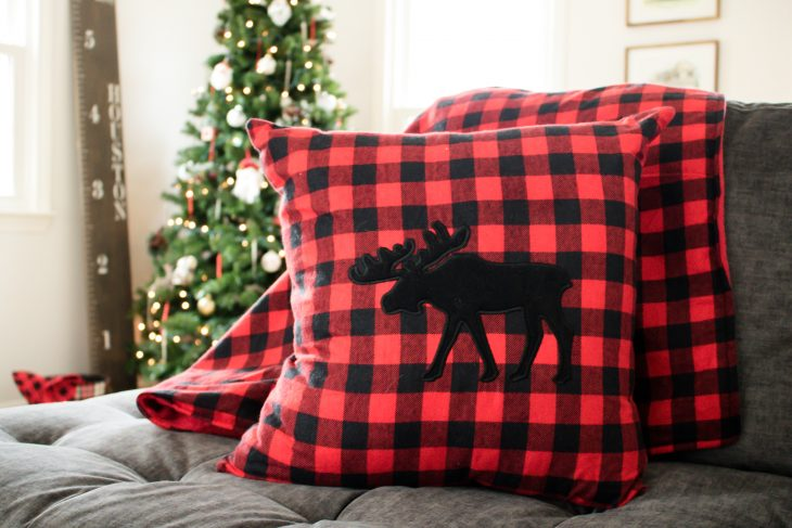 Buffalo Plaid Red and Black Moose Pillow