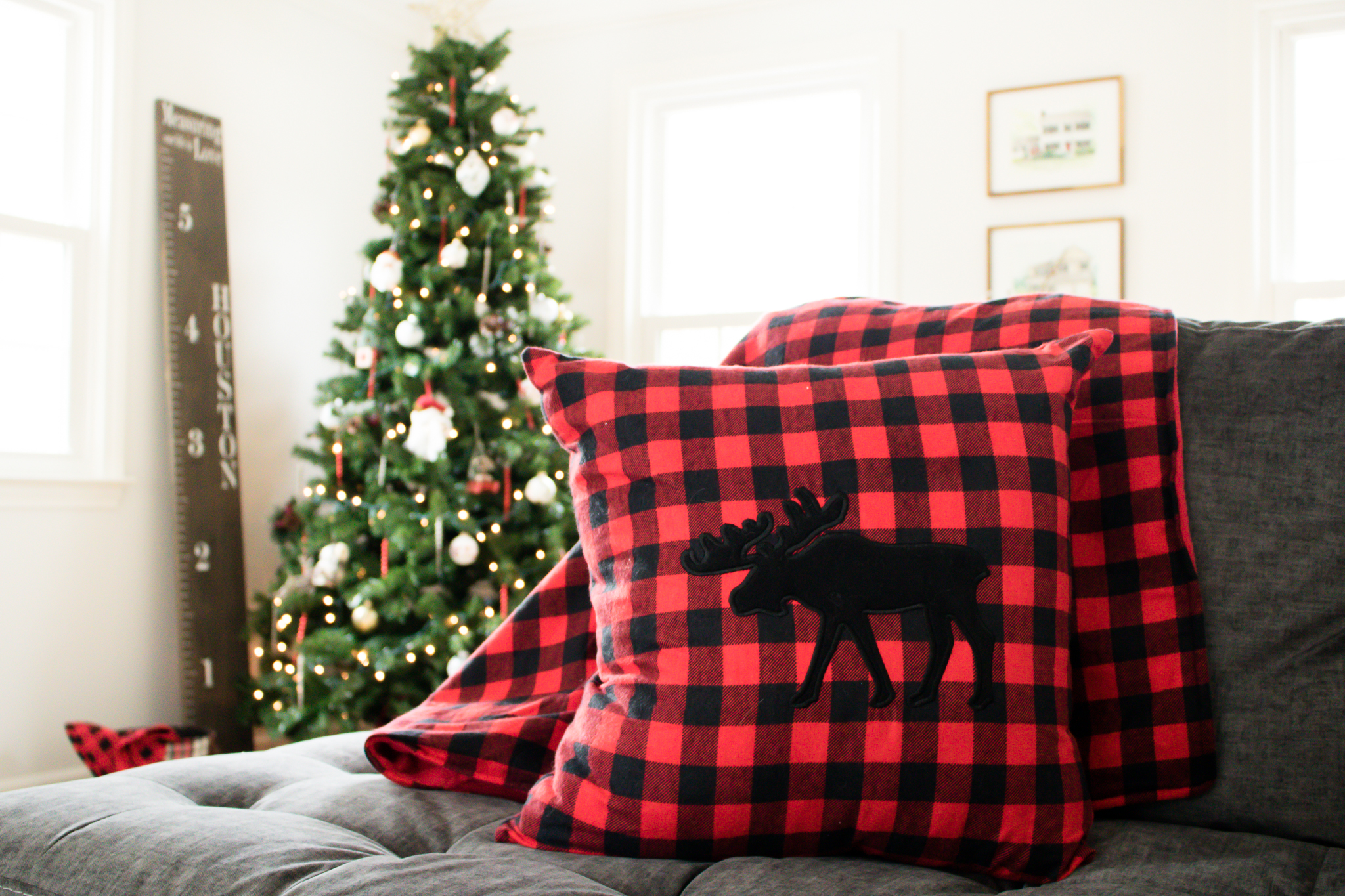 Red and Black Christmas Moose Pillow