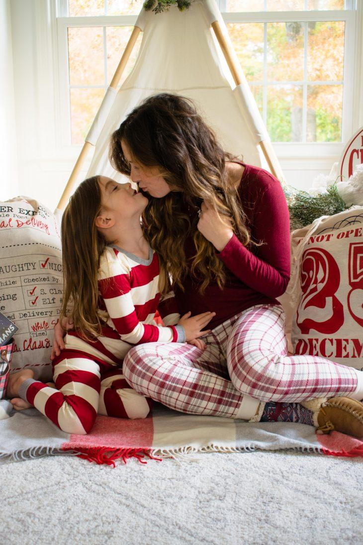 Mom and Daughter Kiss Christmas Photo