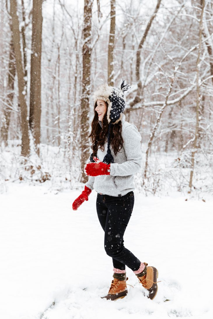 Red Gloves, Fur Hat, Snow Picture