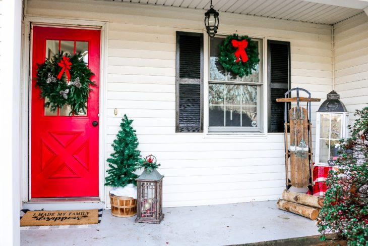 Christmas Porch Decor with Antique Sled