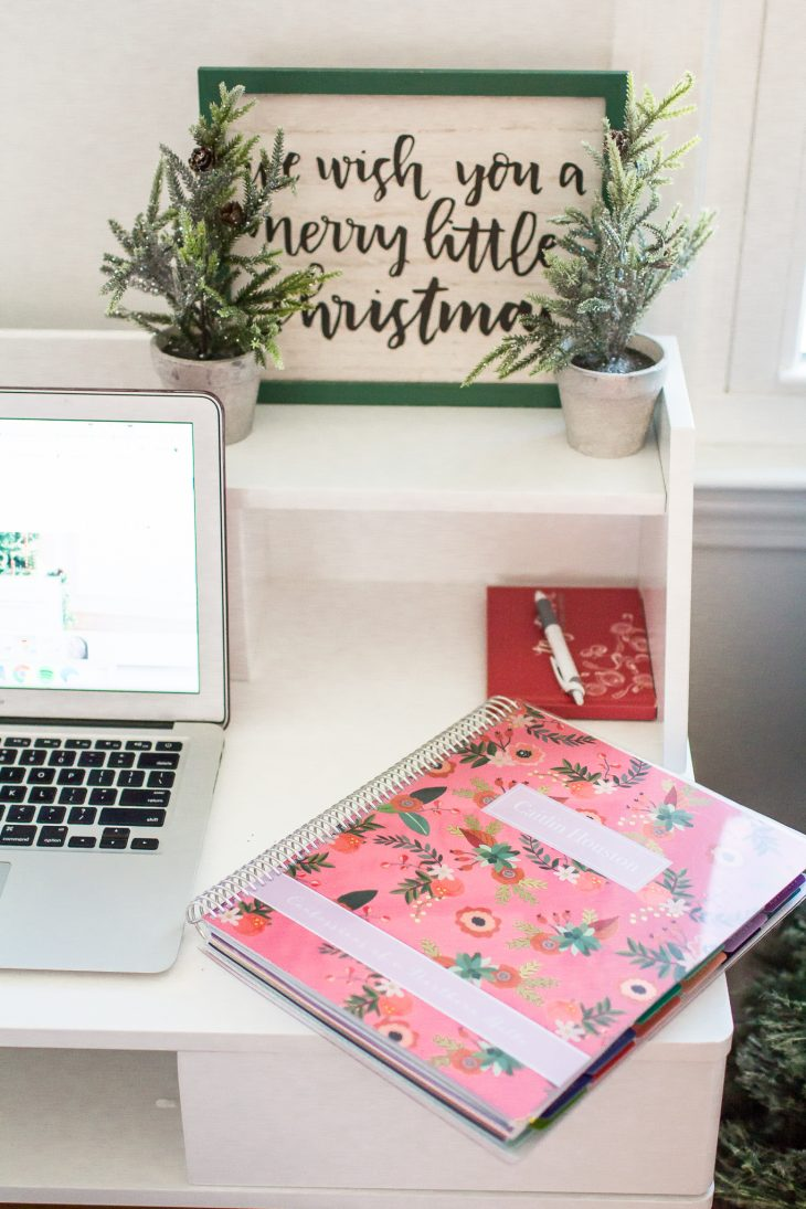 Pink Planner and Christmas Sign