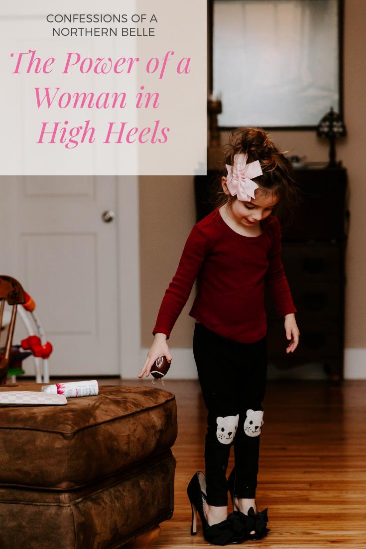 Little girl wearing Moms high heels
