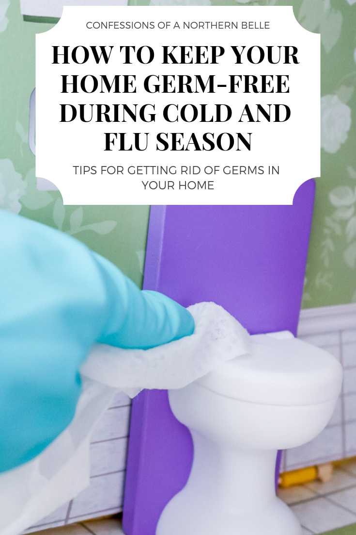 How to Keep Your Home Germ Free During Cold and Flu Season - Blue gloved hand wiping down a dollhouse toiled with a disinfecting wipe