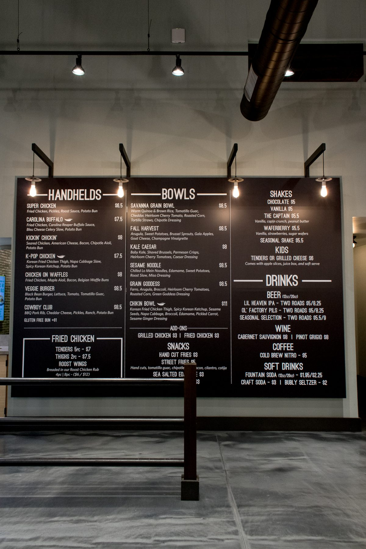Giant wall menu at Roost in Hamden CT