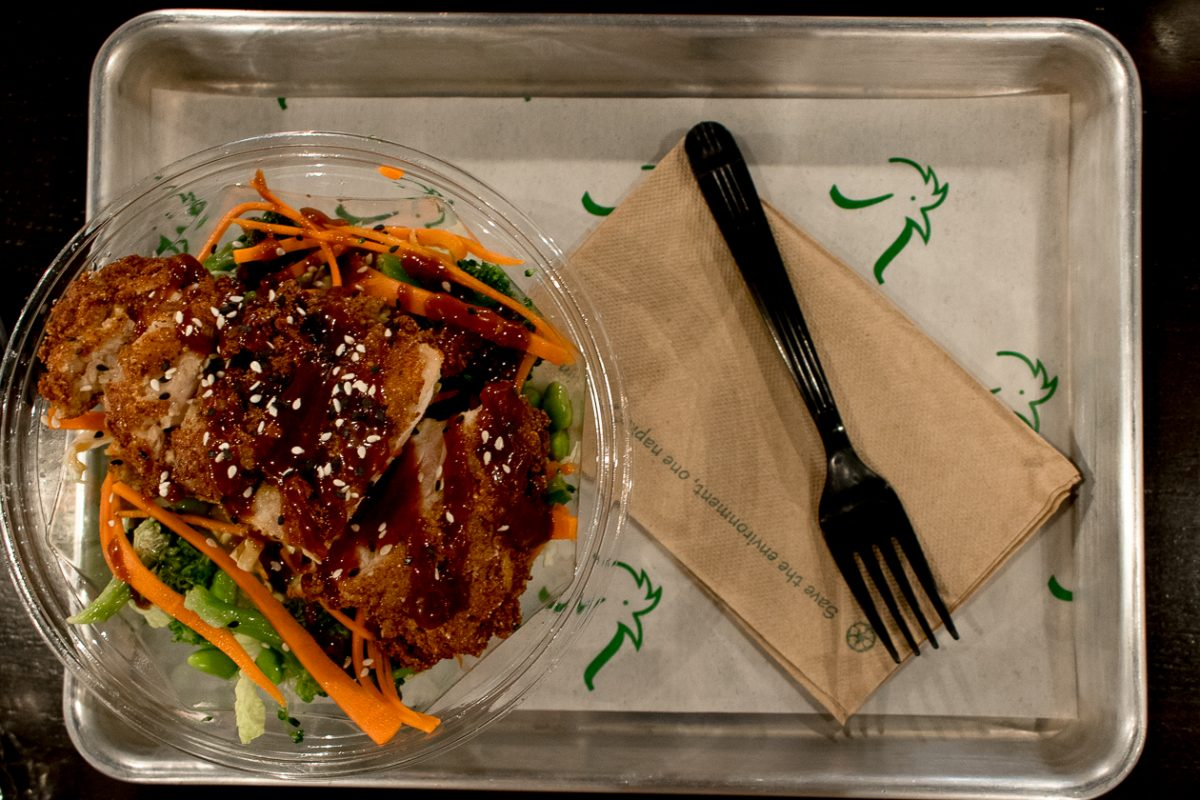 Chikn' Bowl, which contained a Korean Fried Chicken Thigh, Spicy Korean Ketchup, Sesame Seeds, Napa Cabbage, Broccoli, Edamame, Pickled Carrot, and Sesame Ginger Dressing.