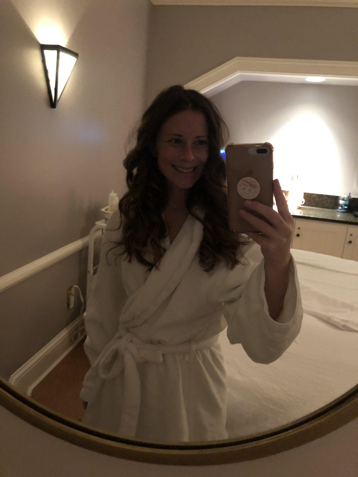 Woman in spa bathrobe at the Lodge at Woodloch Spa Resort