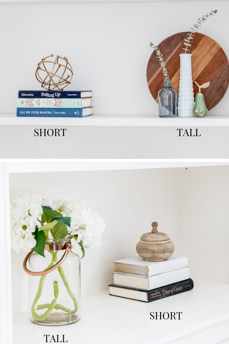 Various Items on shelves grouped by height