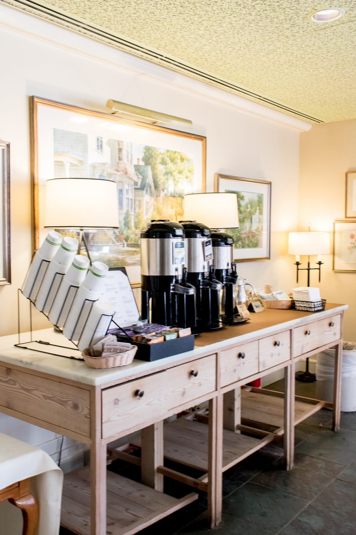 Coffee and Tea Station at Woodstock Inn and Resort in Woodstock Vermont