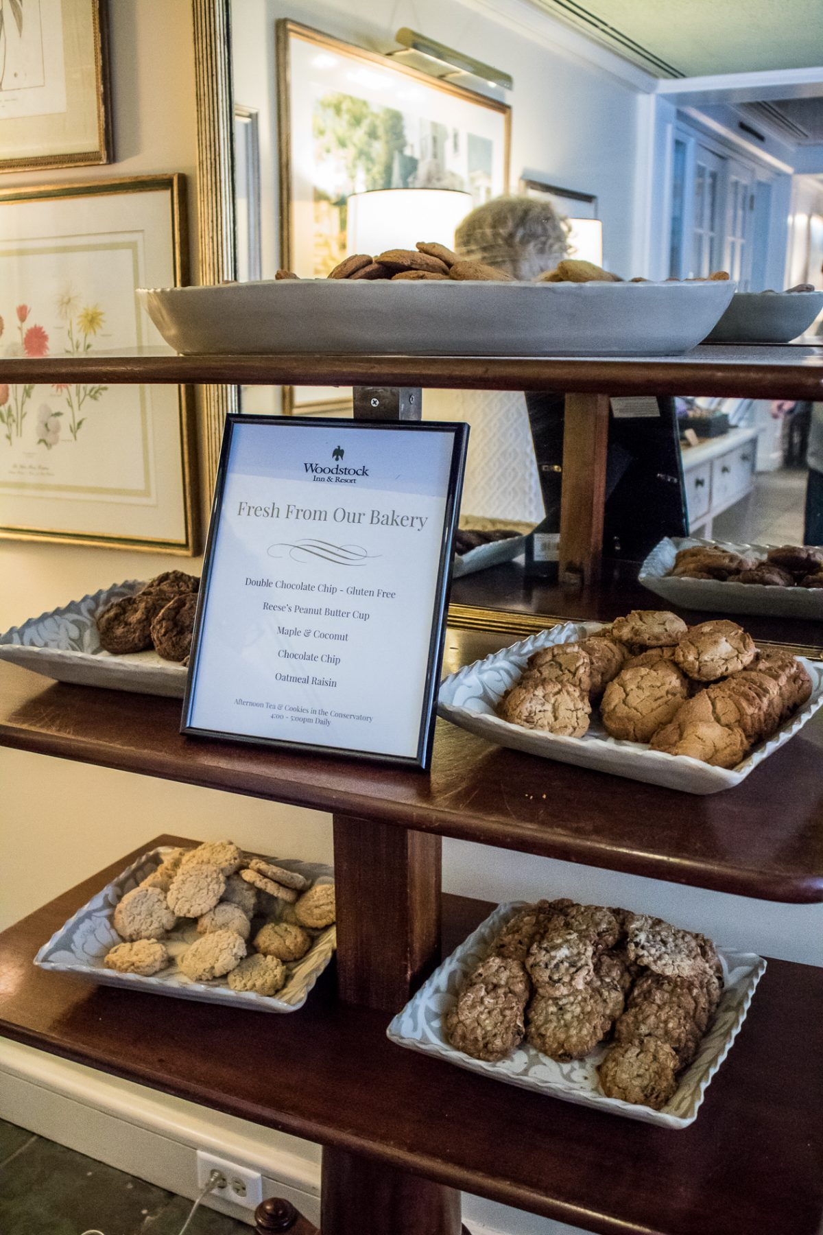 Fresh Baked Cookies Displayed on Shelves at Woodstock Inn and Resort in Woodstock Vermont