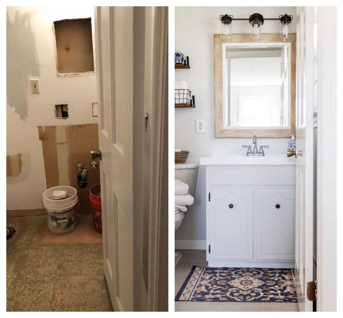 Small Bathroom Renovation Before and After White and Bright