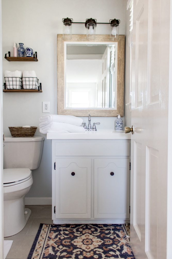 Industrial Farmhouse Boho Small Bathroom
