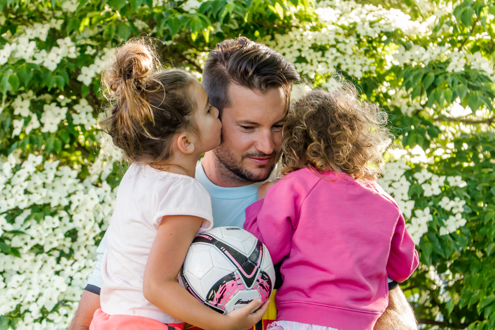 Dad and Daughters with Soccer Ball Father's Day Gifts