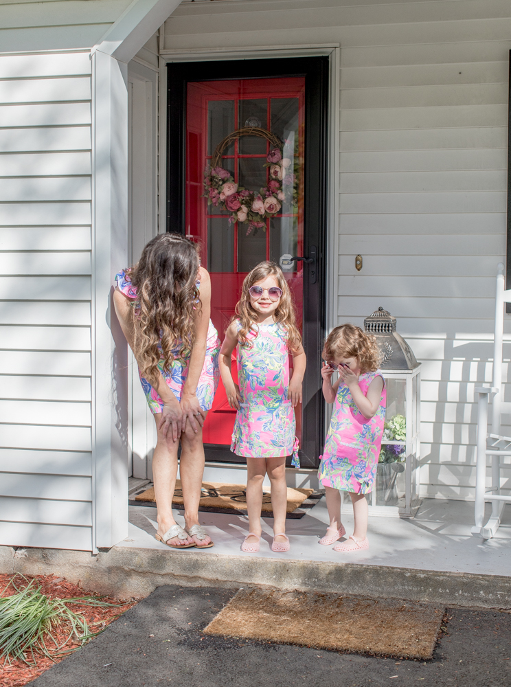 Mom and Daughters Dressed Alike