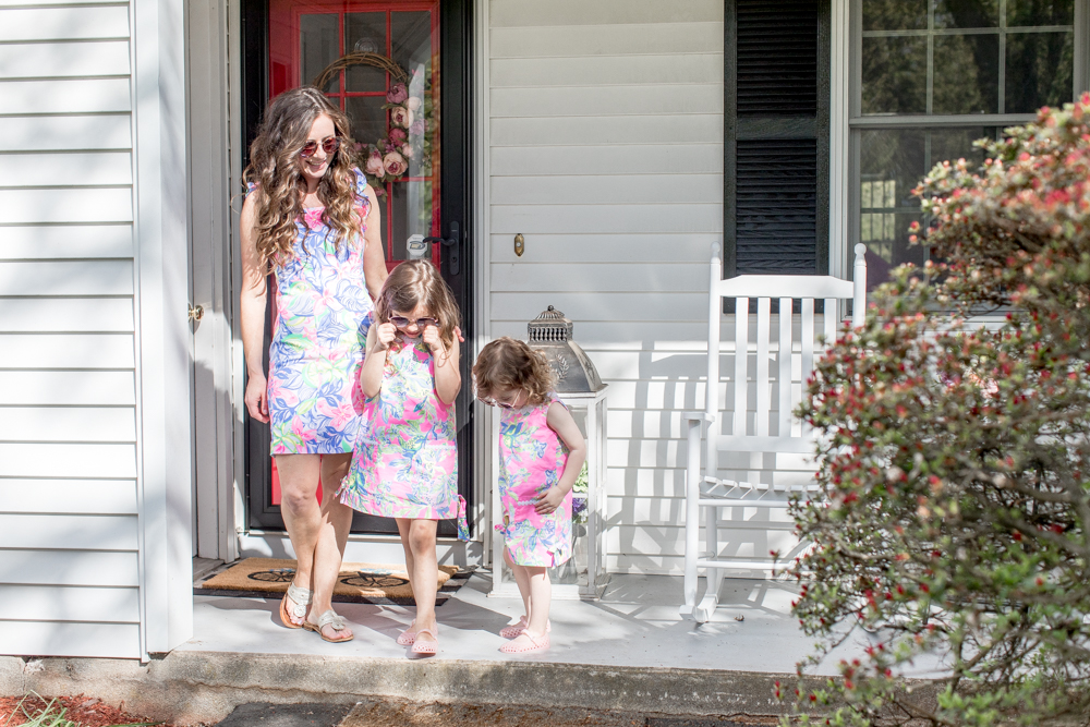 Mom and Daughters dressed in Lilly Pulitzer Walking off Porch