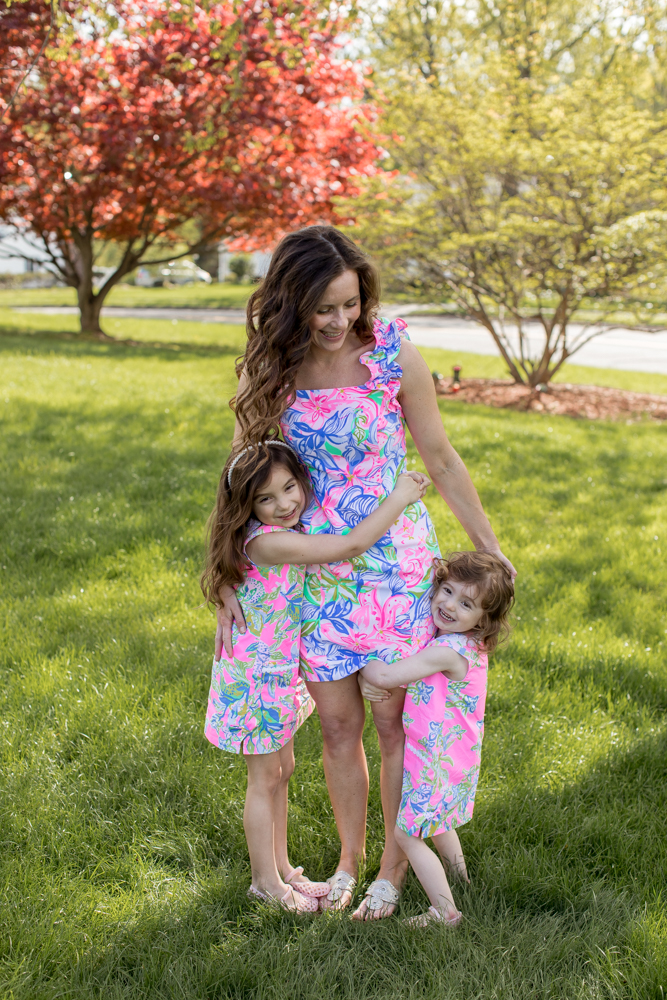 Mom and Daughters in Lilly Pulitzer Hugging