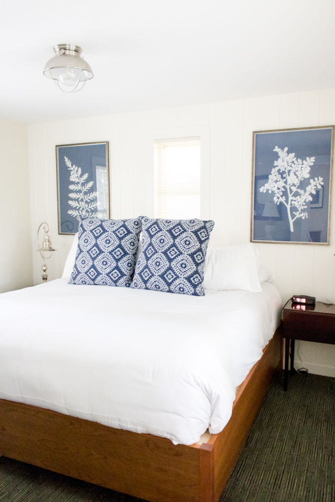 White and Blue Bedroom at Basin Harbor Cottage