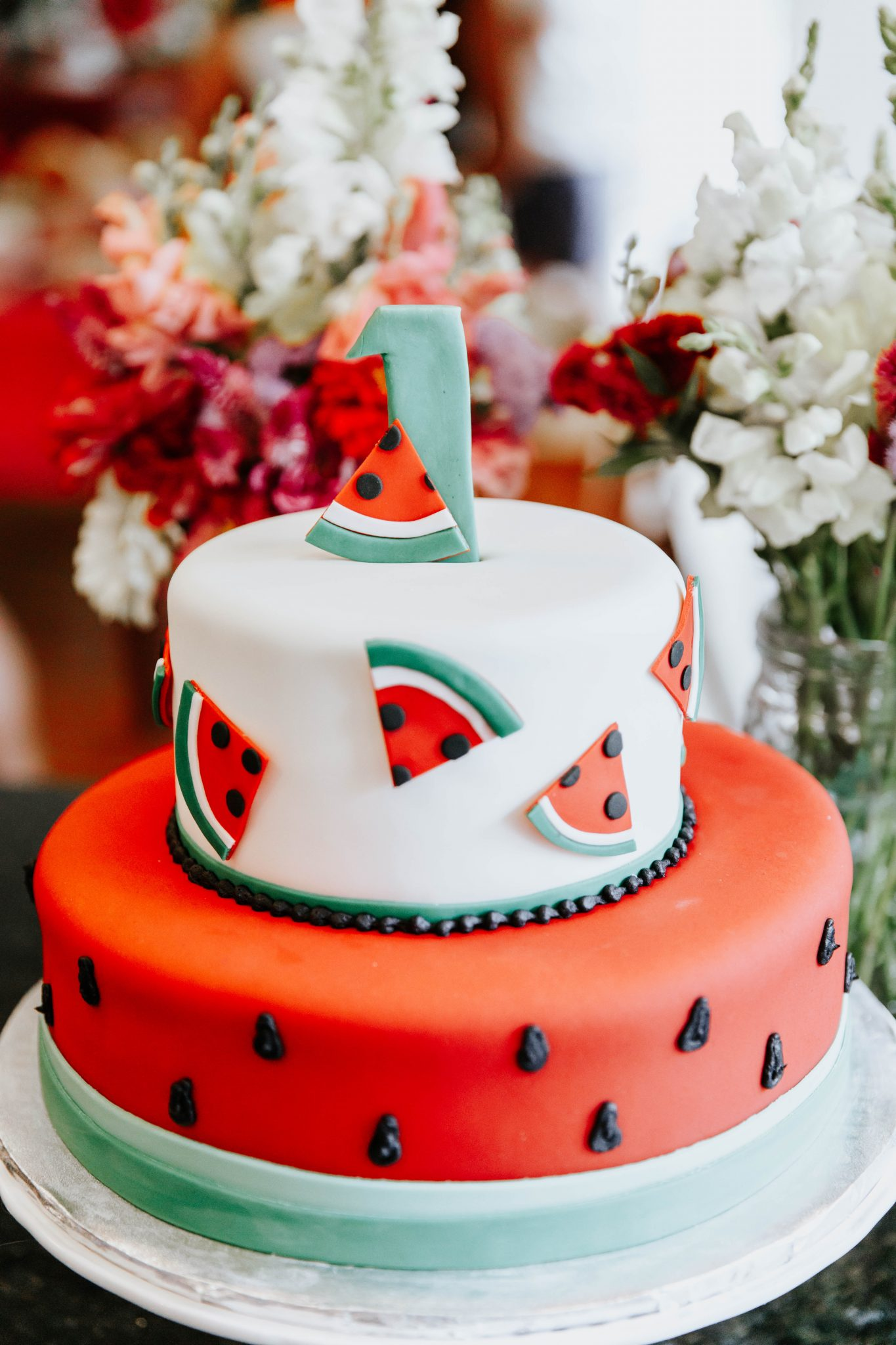 Watermelon Themed First Birthday Party Cake