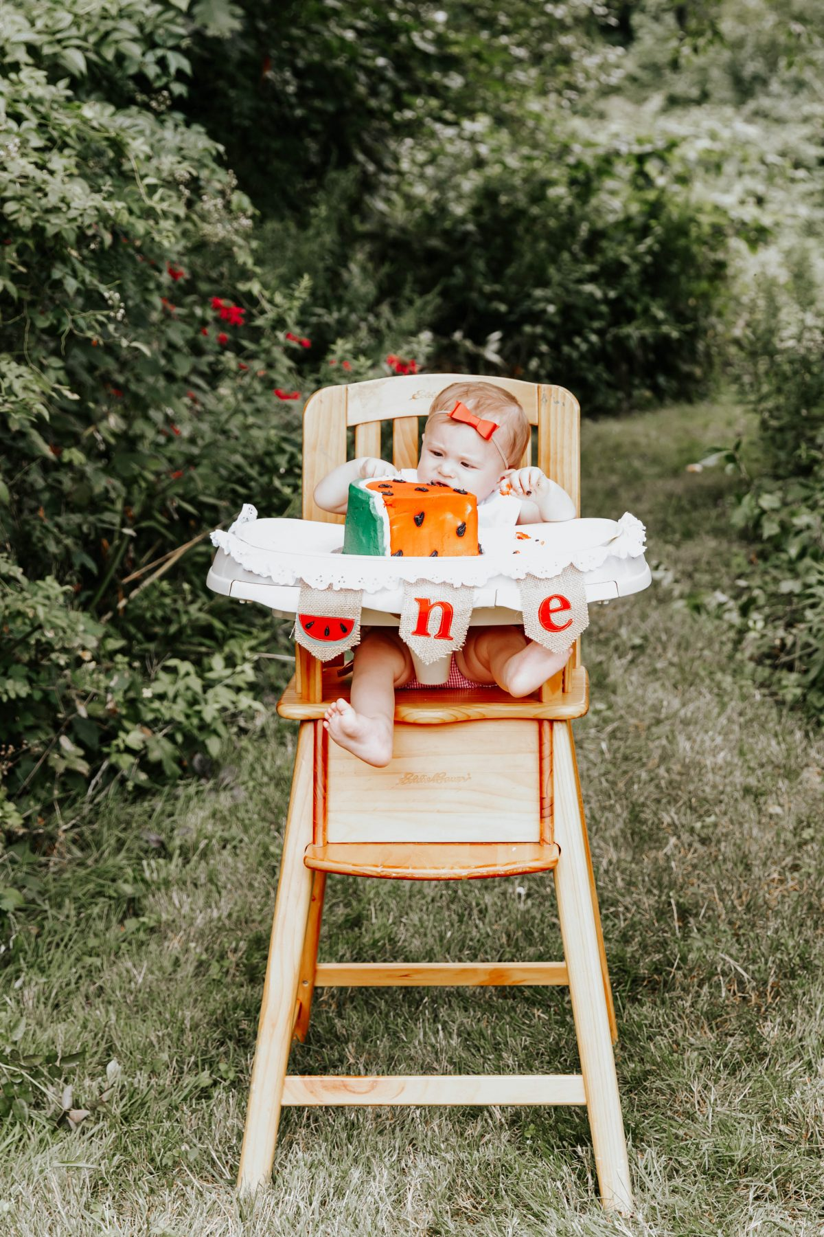 One in a Melon High Chair Banner - First Birthday Party