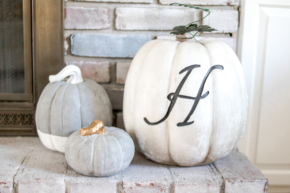 White Brick Fireplace Mantle Decorated for Fall with Neutral Colors