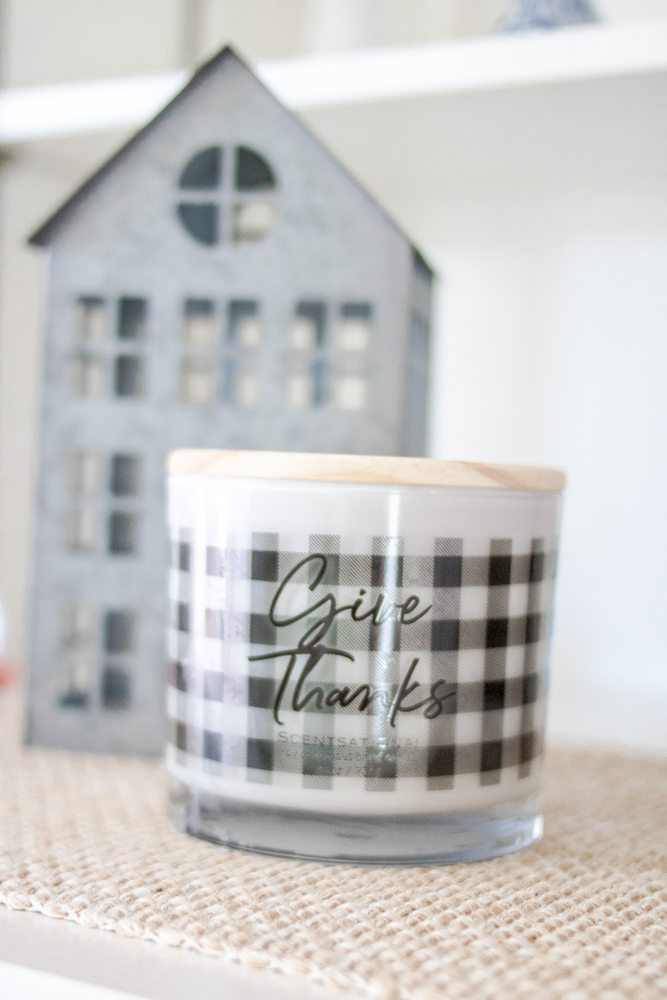 Black and White Gingham Fall decor - Give Thanks Candle