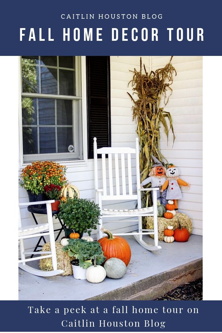 Fall Decor on Breezeway of White Colonial