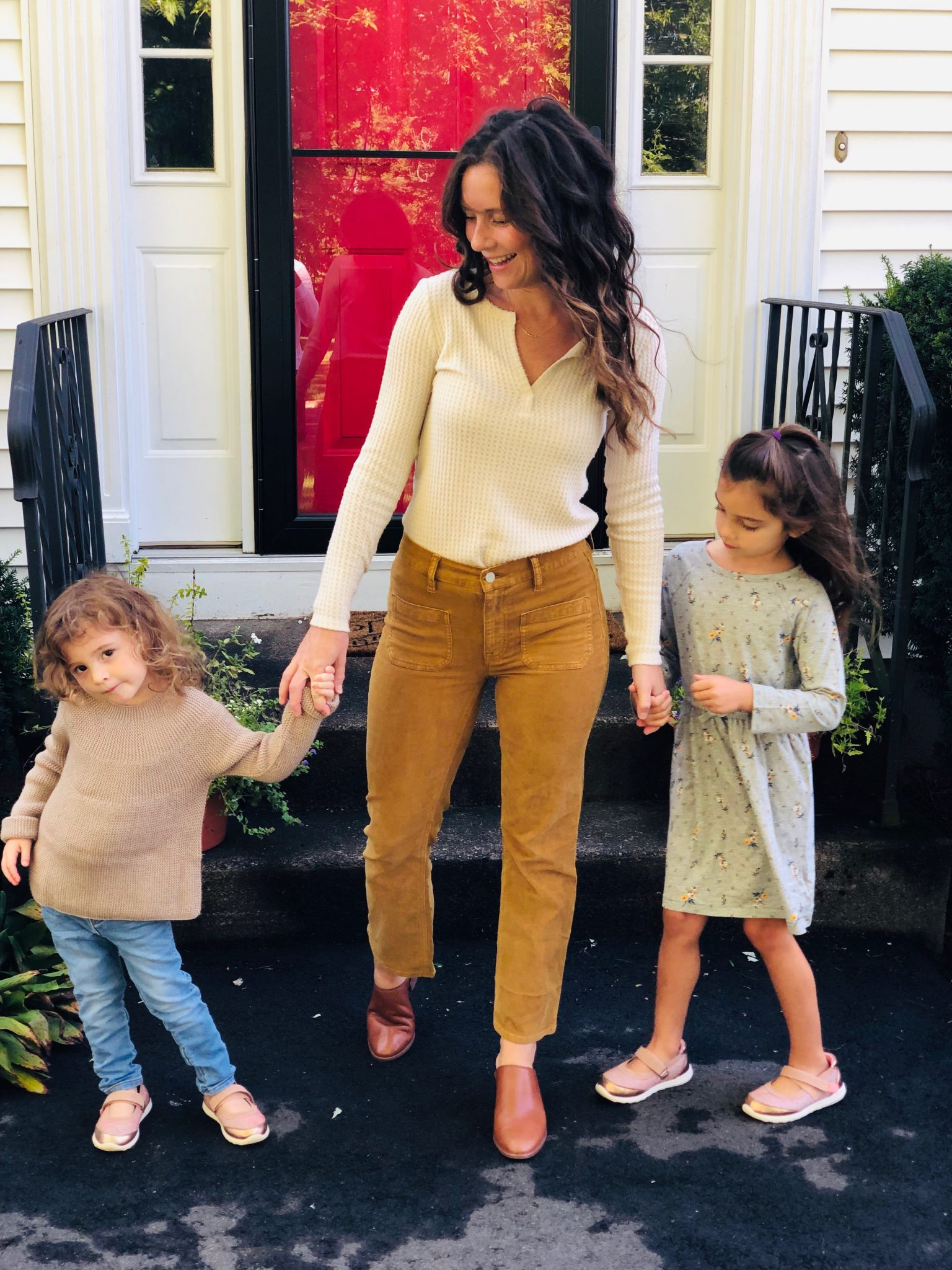 Mom and Kids in Fall Clothes