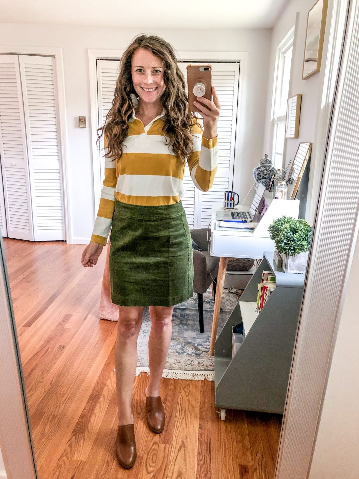 How to Style a Corduroy Skirt for Fall with a Polo