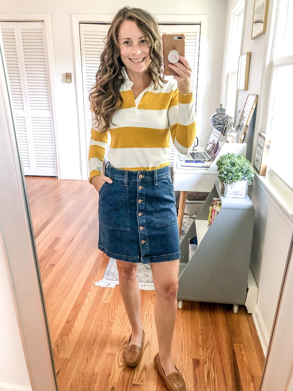 Button Front Jean Skirt, Rugby Stripe Polo, Brown Moccasins