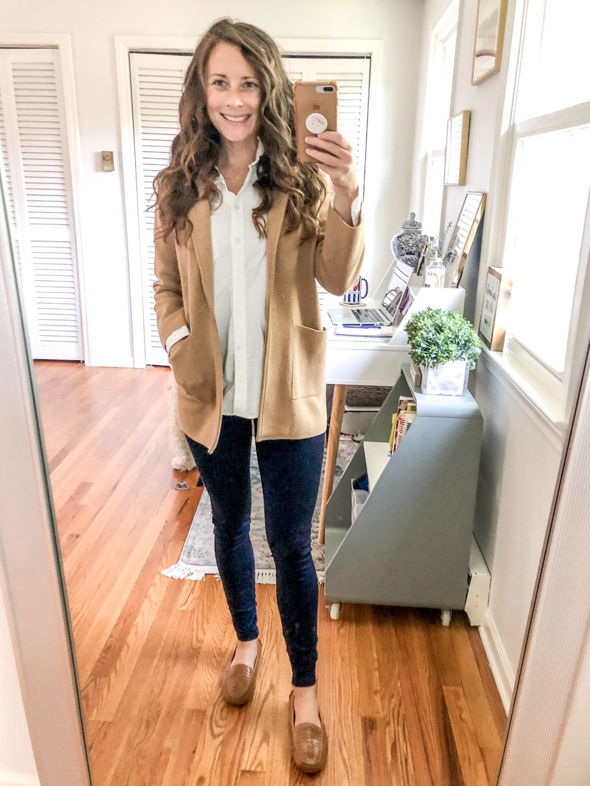 How to Style a Sweater Blazer with a White Oxford and Blue Pants