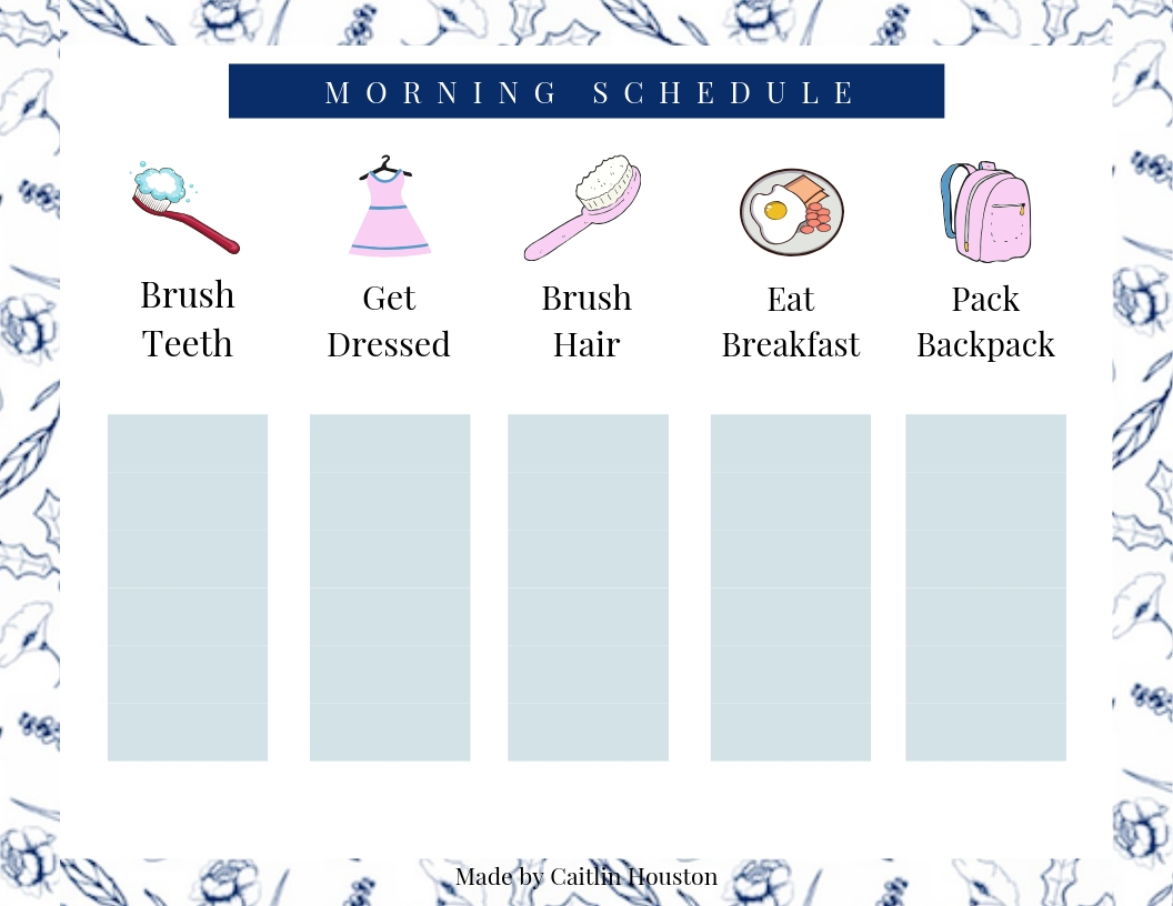 Morning Schedule Printable for Kids