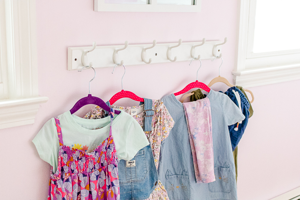 Clothes Hanging on Hook Shelf for School