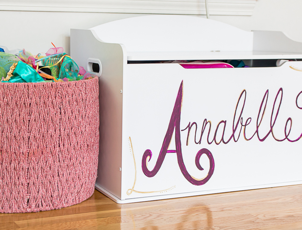 personalized white toy chest