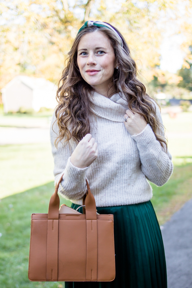 Sweater Tucked into Maxi Skirt for Fall