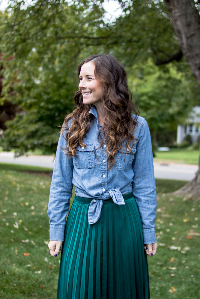 Chambray Button Up with a Maxi Skirt