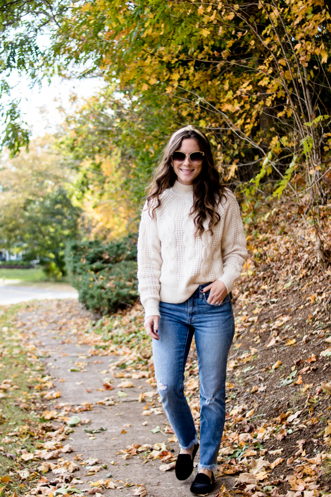Cable Knit Sweater and Boyfriend Jeans