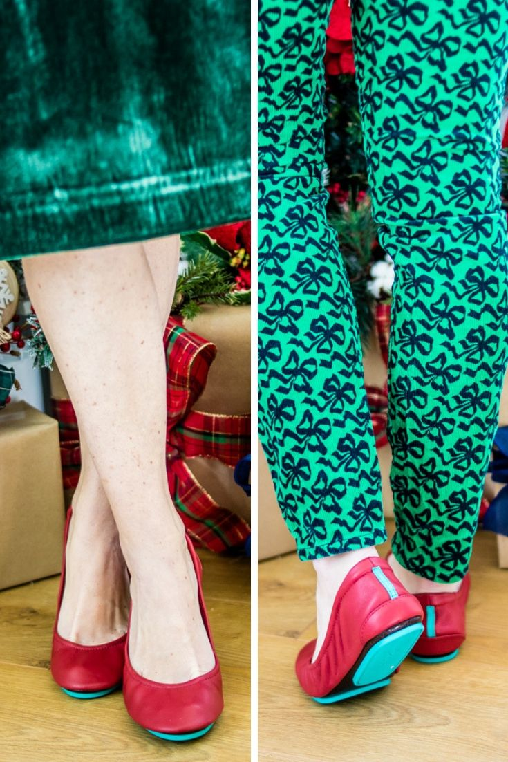 Tieks Ballet Flats in Cardinal Red Christmas Outfit
