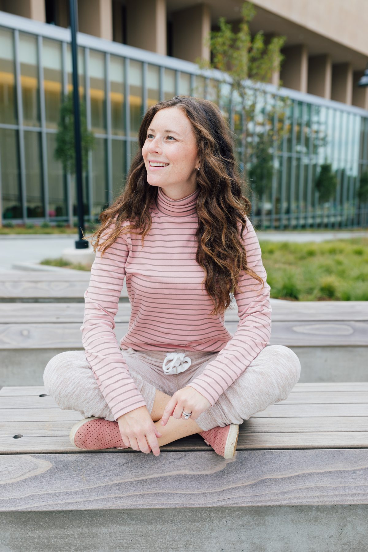 Life Lately for Caitlin Houston Blog wearing pink turtleneck and joggers