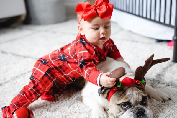Baby in Christmas Pjs and Dog with Reindeer Ears