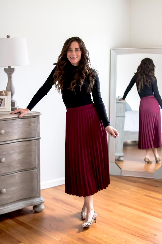 black top maroon maxi skirt