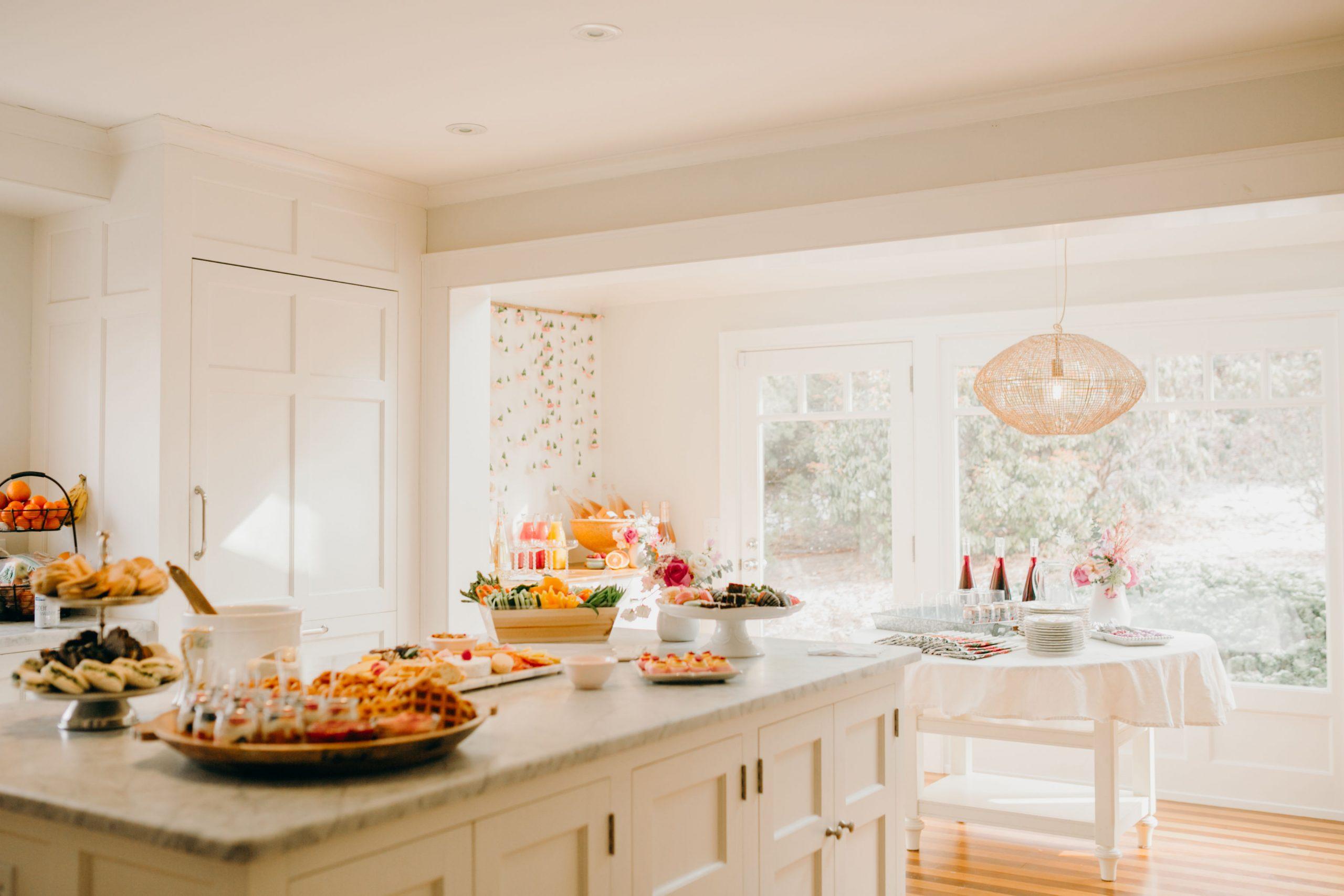 brunch spread in big kitchen