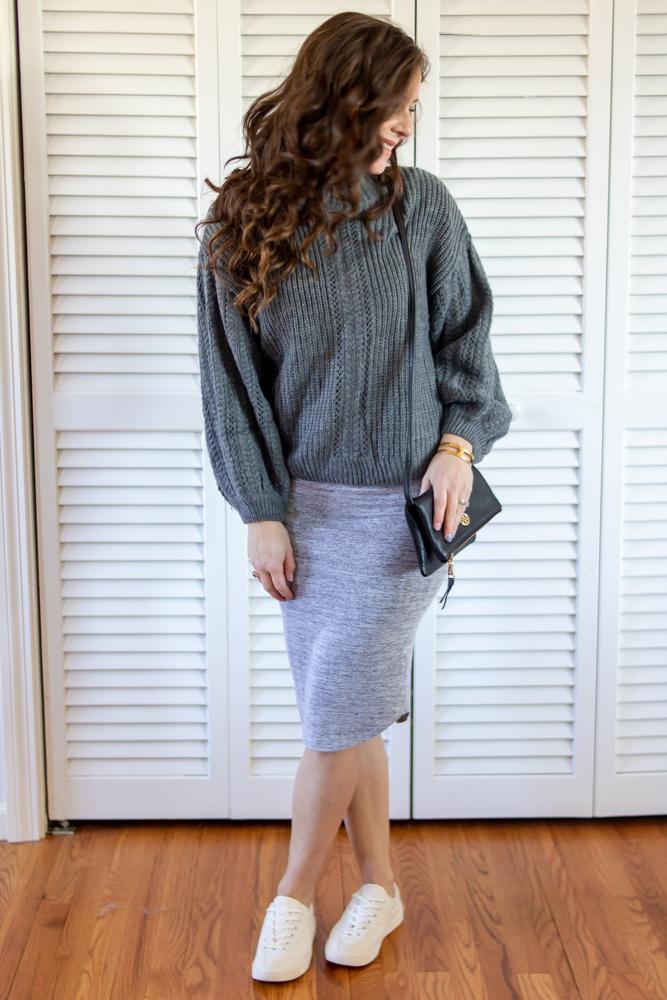 Gray sweater, gray bodycon dress, black tory burch purse, white tretorn canvas sneakers