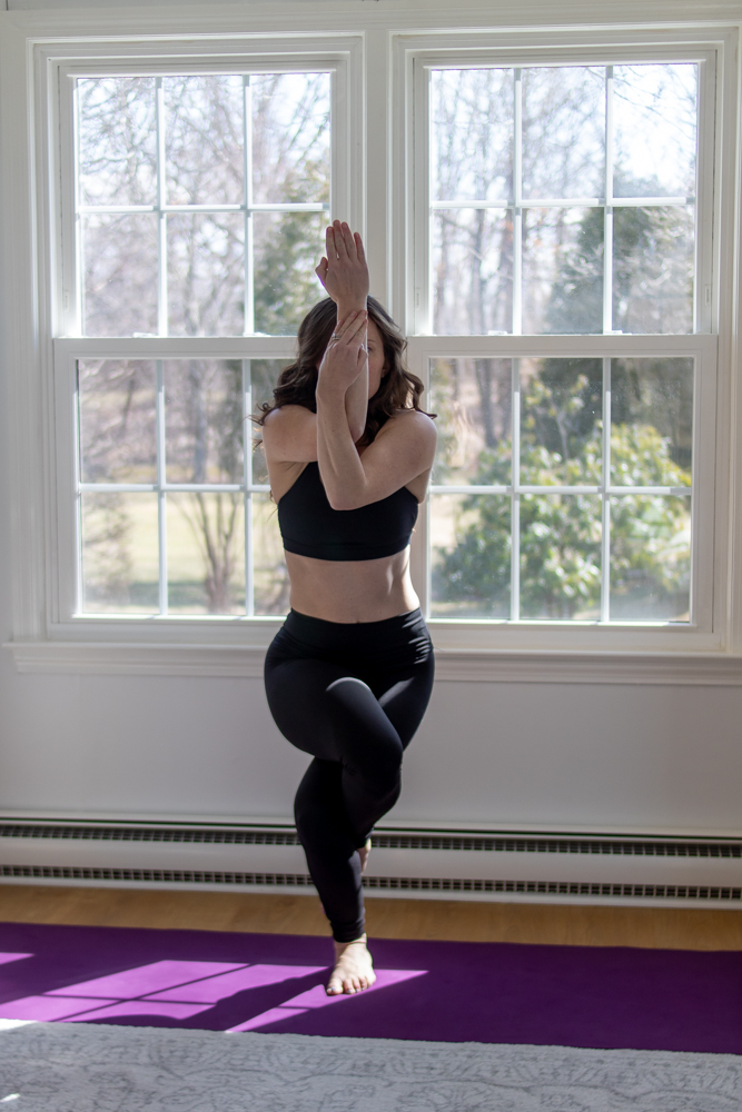 Woman in Eagle Pose for Yoga life lately update
