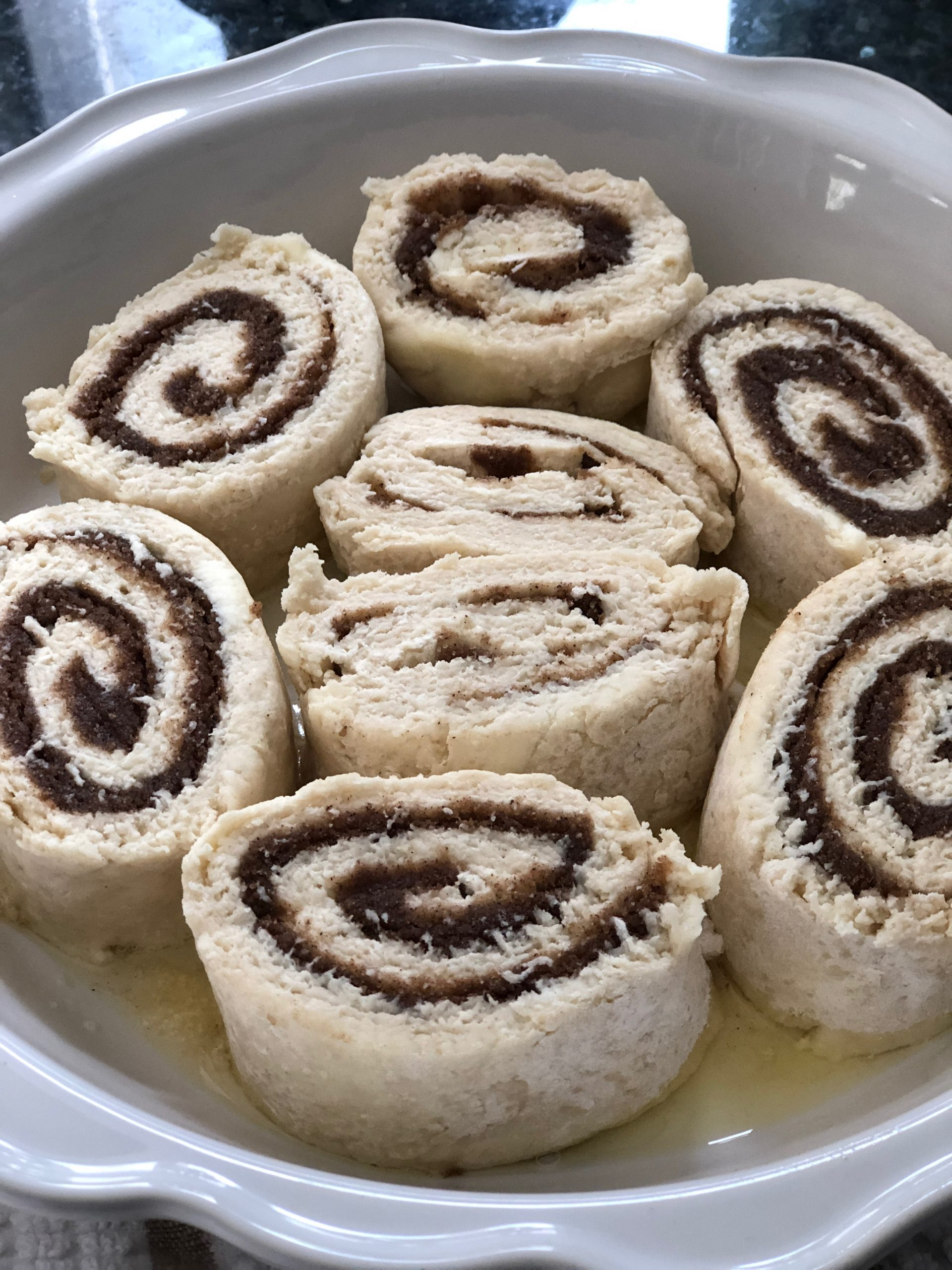 Yeast Free Cinnamon Rolls Before Baking